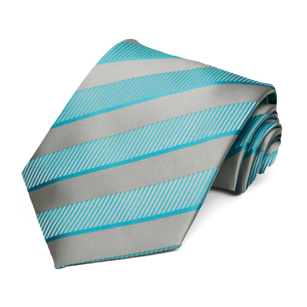 Turquoise and Silver Lancer Striped Necktie