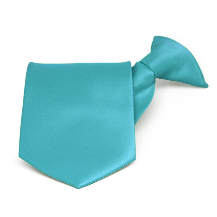 Turquoise Solid Color Clip-On Tie