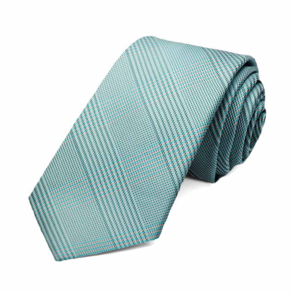 Turquoise Jamestown Glen Plaid Slim Necktie