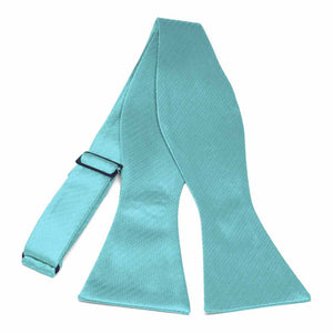 Turquoise Herringbone Silk Self-Tie Bow Tie