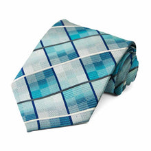 Load image into Gallery viewer, Turquoise plaid pattern tie