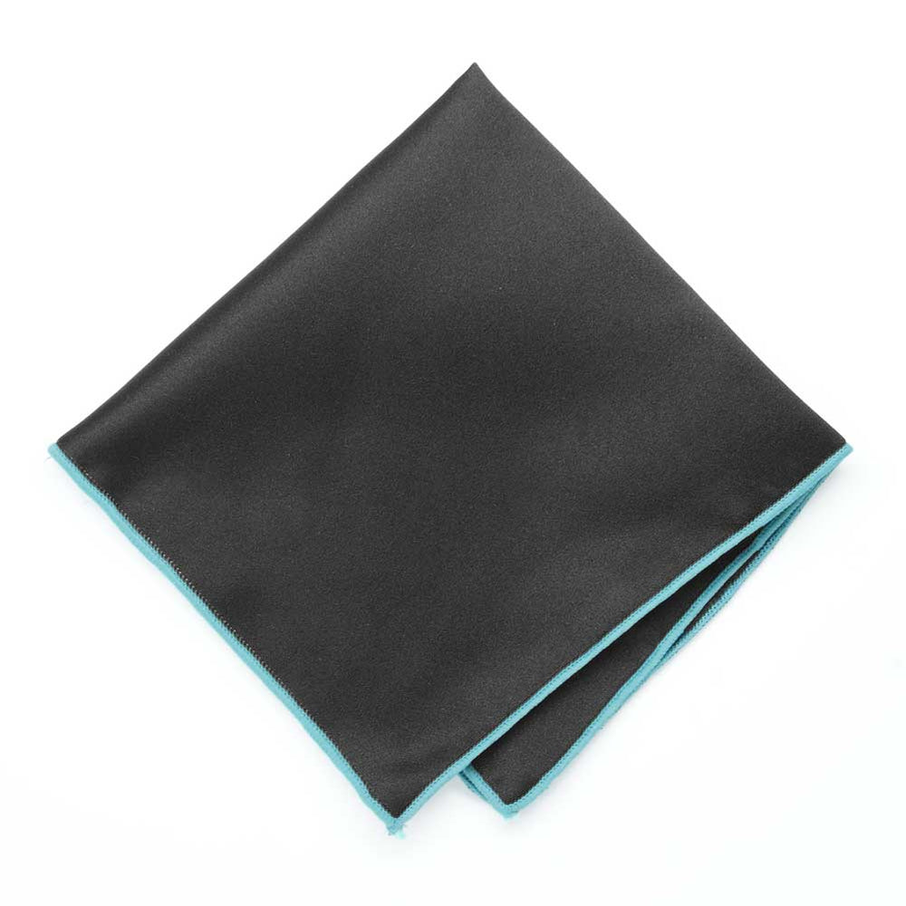 Turquoise Tipped Black Pocket Square
