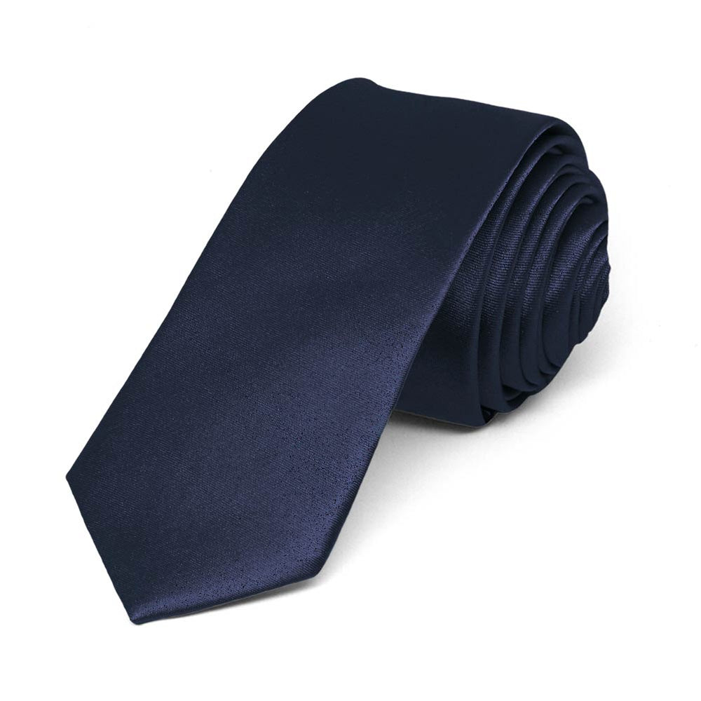 Twilight Blue Skinny Solid Color Necktie, 2