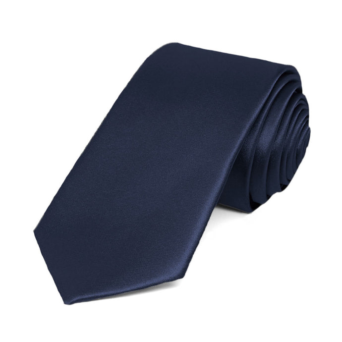 Twilight Blue Slim Solid Color Necktie, 2.5