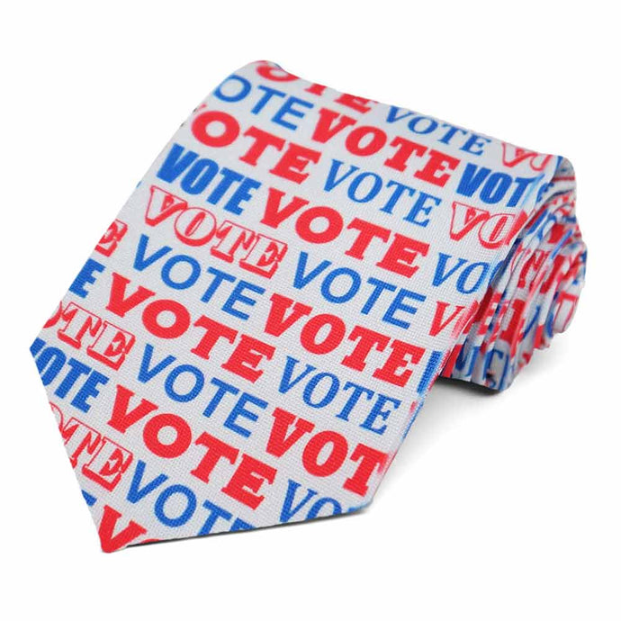 Vote written in red and white on a light gray necktie.