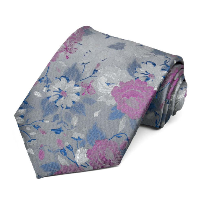 Silver and Orchid Writer Floral Silk Necktie