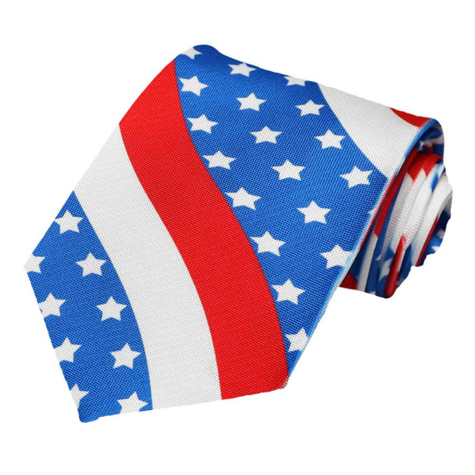 Red, white and blue with stars on a tie.