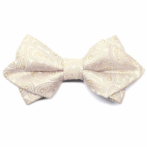 Wheat Brown Darlene Paisley Diamond Tip Bow Tie