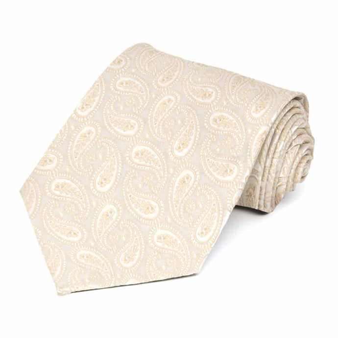 Wheat Brown Darlene Paisley Extra Long Necktie