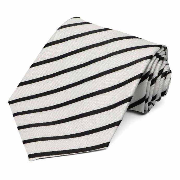 White Barkley Striped Necktie