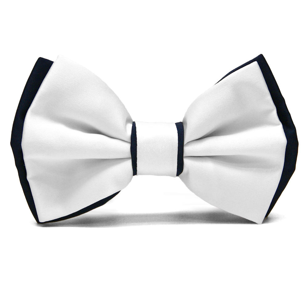 White and Dark Navy Blue Dual Color Bow Tie