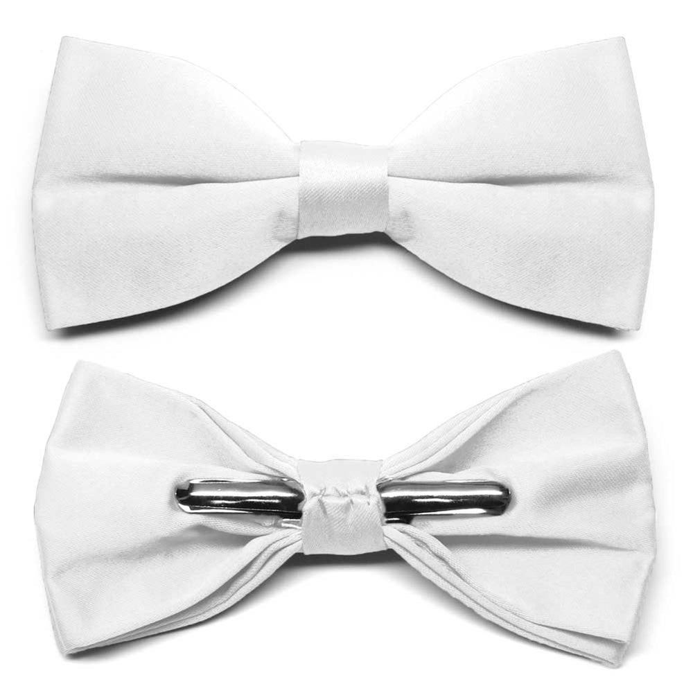 White Clip-On Bow Tie