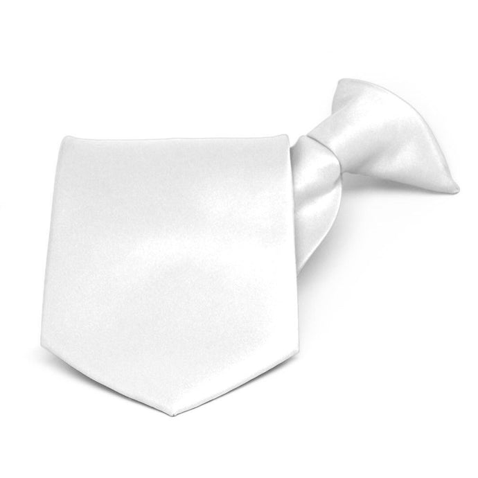 White Solid Color Clip-On Tie