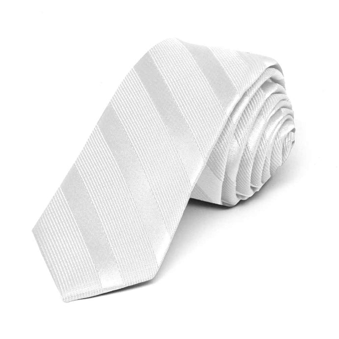 White Elite Striped Skinny Necktie, 2
