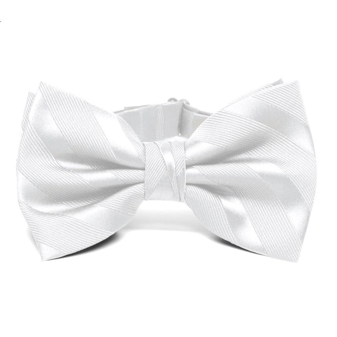 White Elite Striped Bow Tie