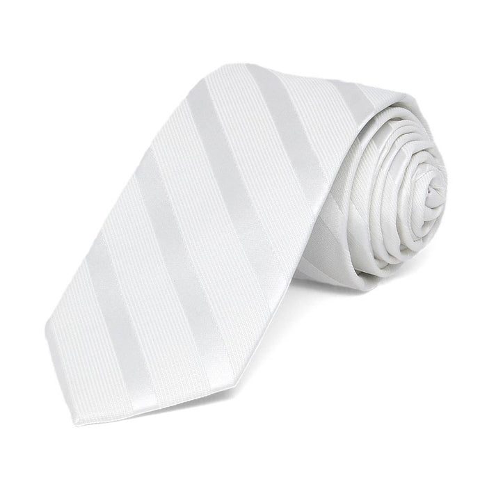 White Elite Striped Slim Necktie, 2.5