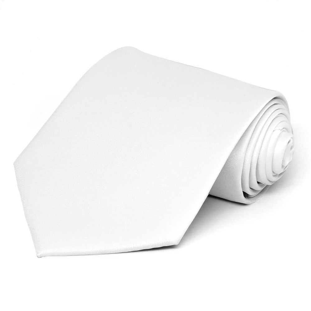 White Extra Long Solid Color Necktie