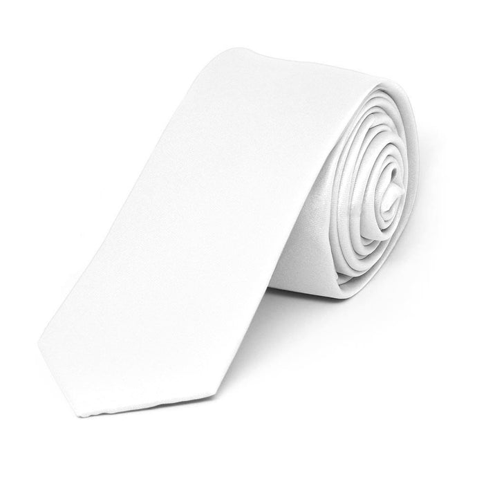 White Extra Long Skinny Solid Color Necktie, 2