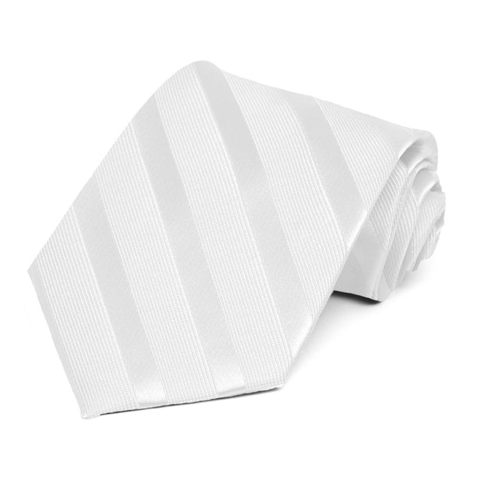 White Elite Extra Long Striped Necktie