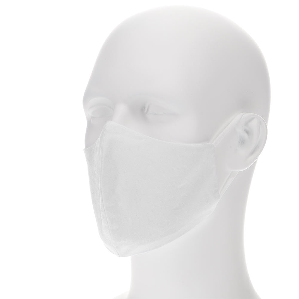 white face mask on a mannequin with filter pocket