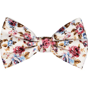 White, pink and blue floral bow tie