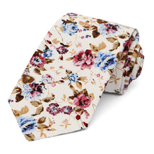 Load image into Gallery viewer, Ridgecrest Floral Cotton Narrow Necktie