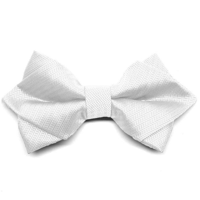 White Herringbone Diamond Tip Bow Tie