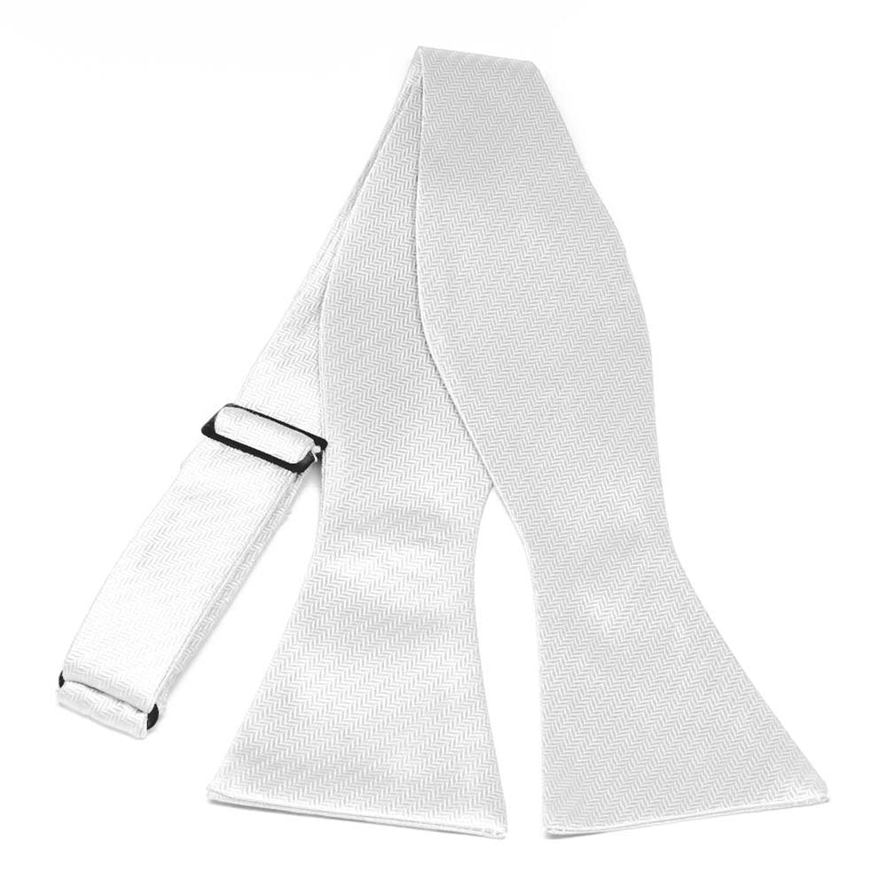 White Herringbone Silk Self-Tie Bow Tie