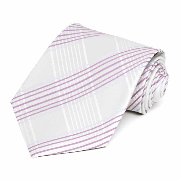White Jeffrey Plaid Necktie