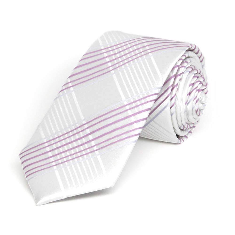 White Jeffrey Plaid Slim Necktie, 2.5
