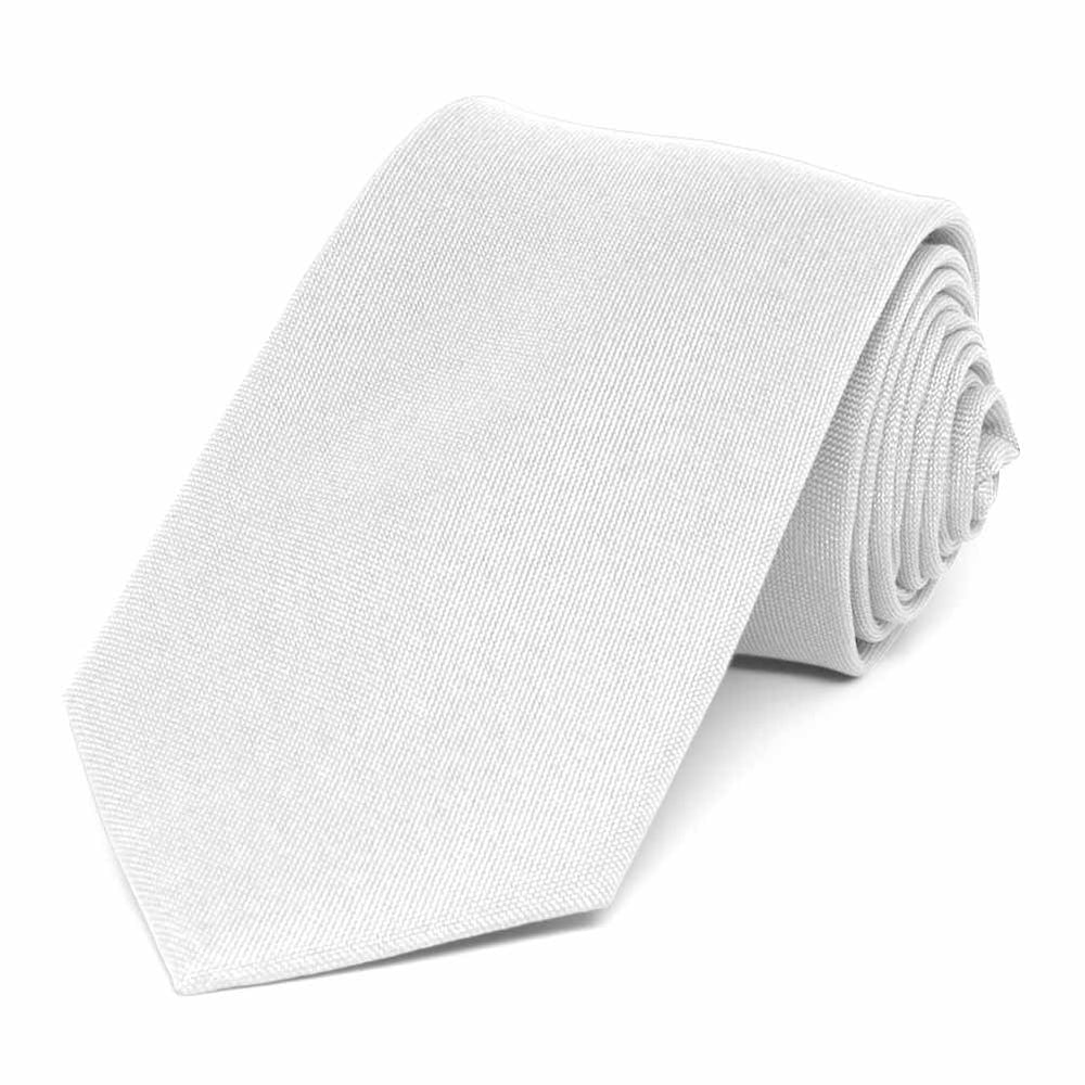 White Matte Finish Necktie, 3