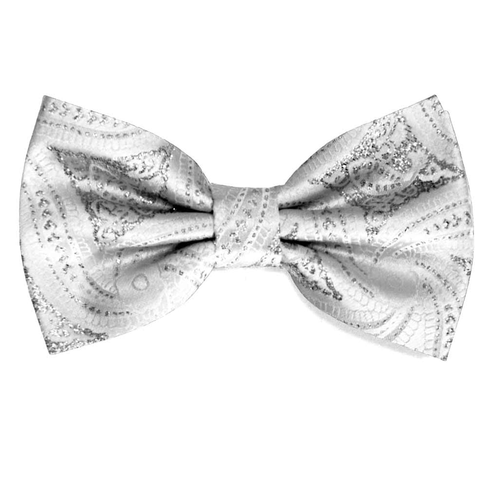 White and Silver Chadwick Paisley Bow Tie