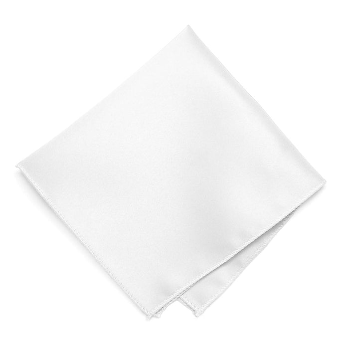 White Solid Color Pocket Square