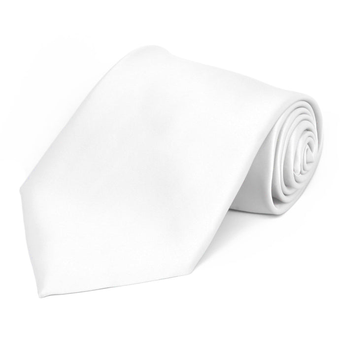 White Premium Extra Long Solid Color Necktie