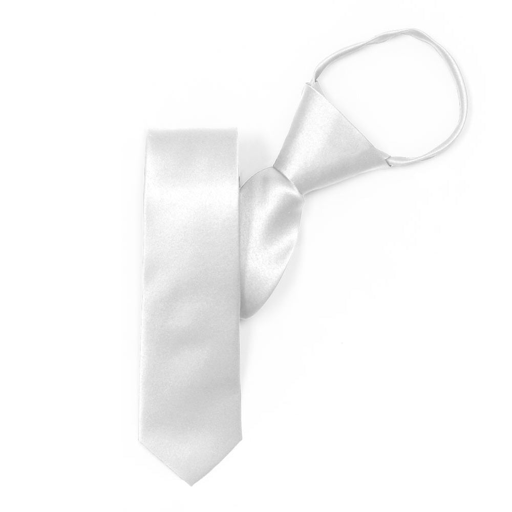 Skinny White Solid Color Zipper Tie