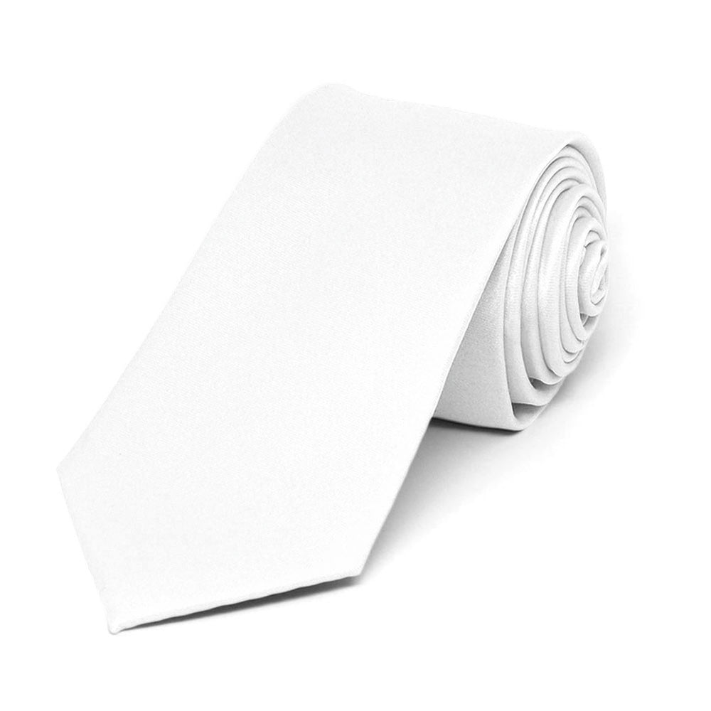 White Slim Solid Color Necktie, 2.5