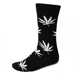 Black and white weed leaf sock