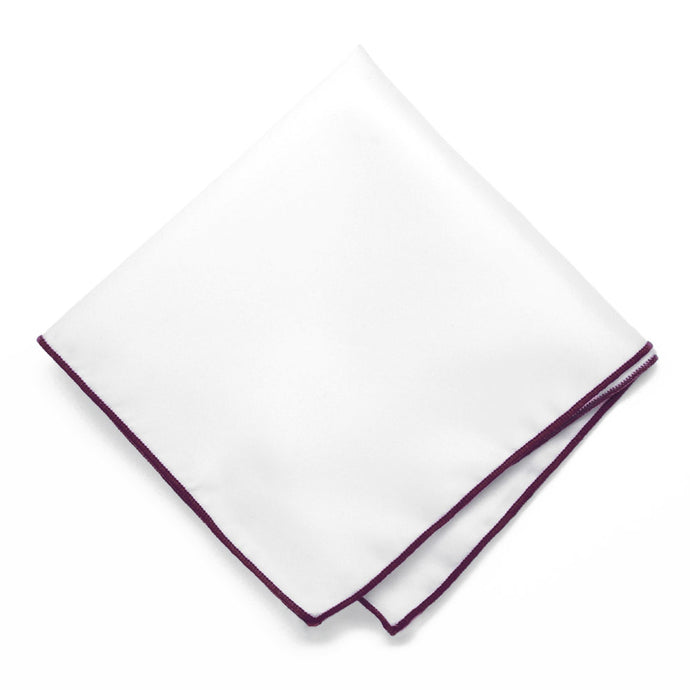 Wine Tipped White Pocket Square