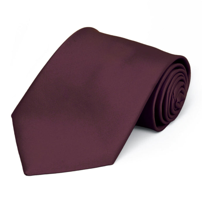 Wine Premium Extra Long Solid Color Necktie