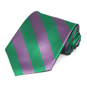 Wisteria Purple and Kelly Green Striped Tie