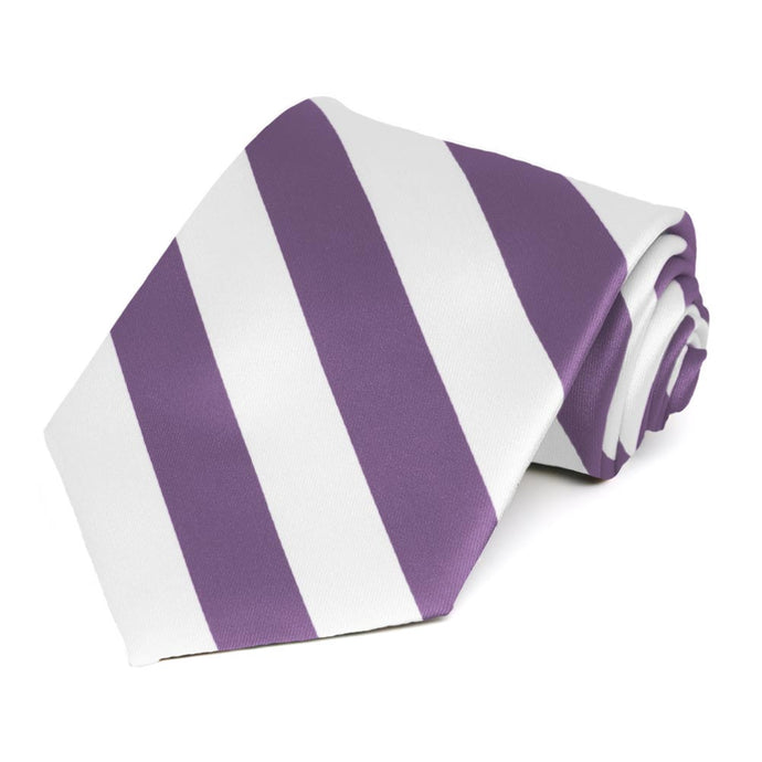 Wisteria Purple and White Striped Tie