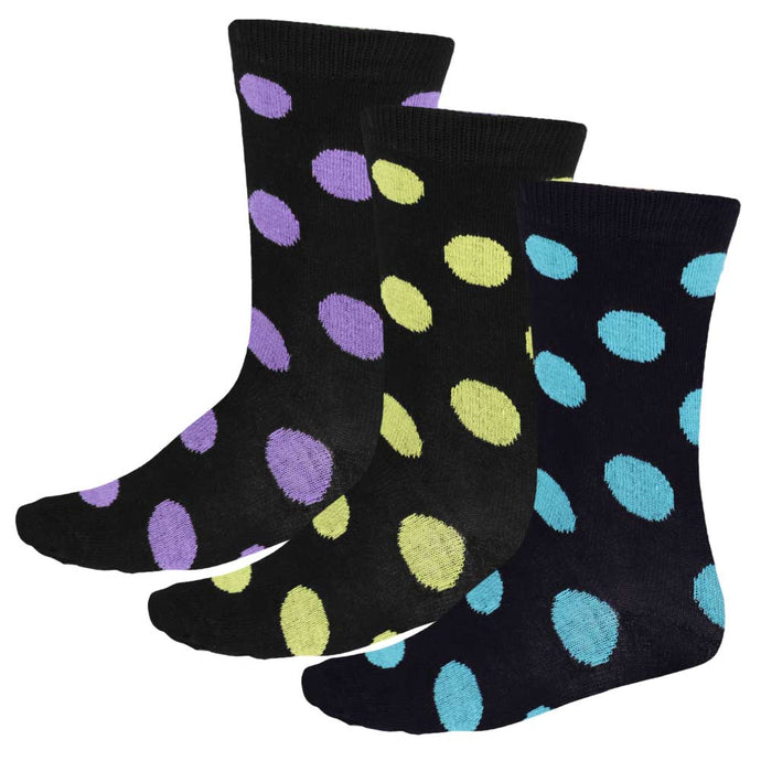 3 pairs of women's polka crew socks in black and turquoise, black and yellow and black and purple