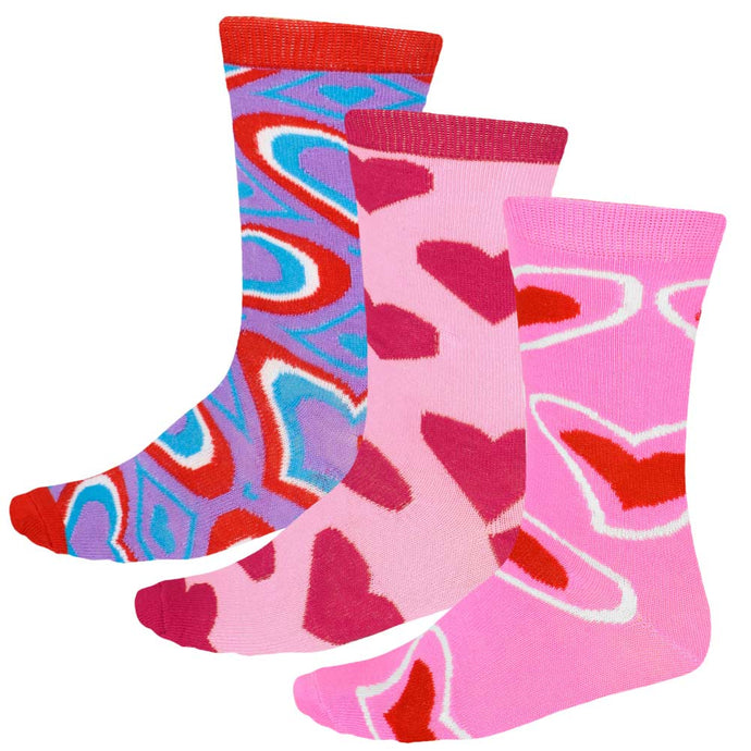 3 pairs of women's pink, red and purple socks in assorted heart patterns
