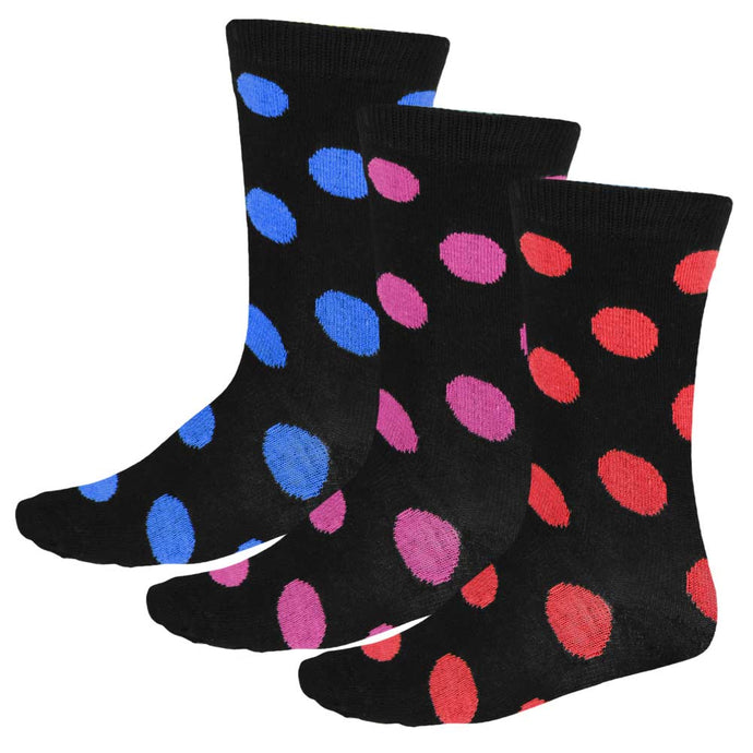 3 pairs of women's polka crew socks in black and red, black and fuchsia and black and royal blue