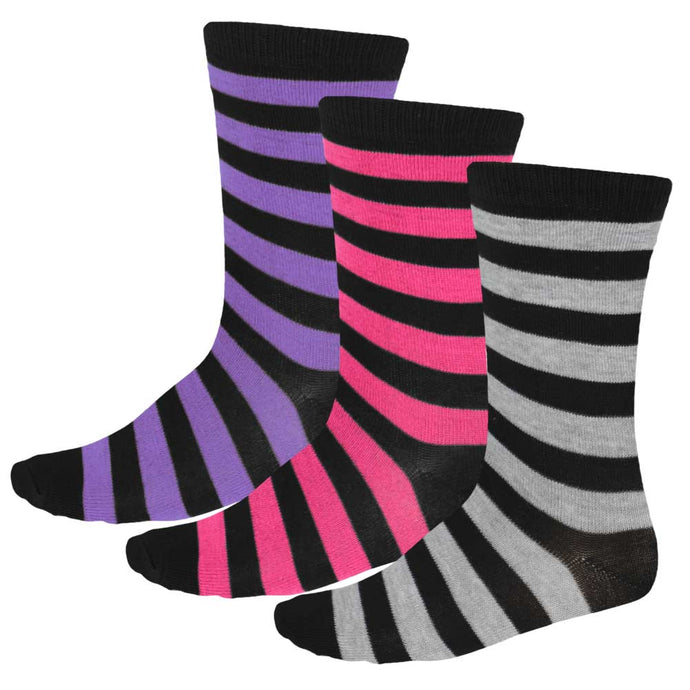 3-pack of women's striped socks in black, gray, fuchsia and purple