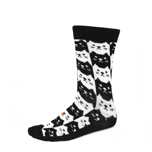 Black and white cat themed socks