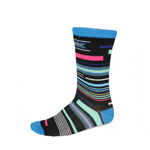 Women's funky striped socks in blue, black and other bright colors