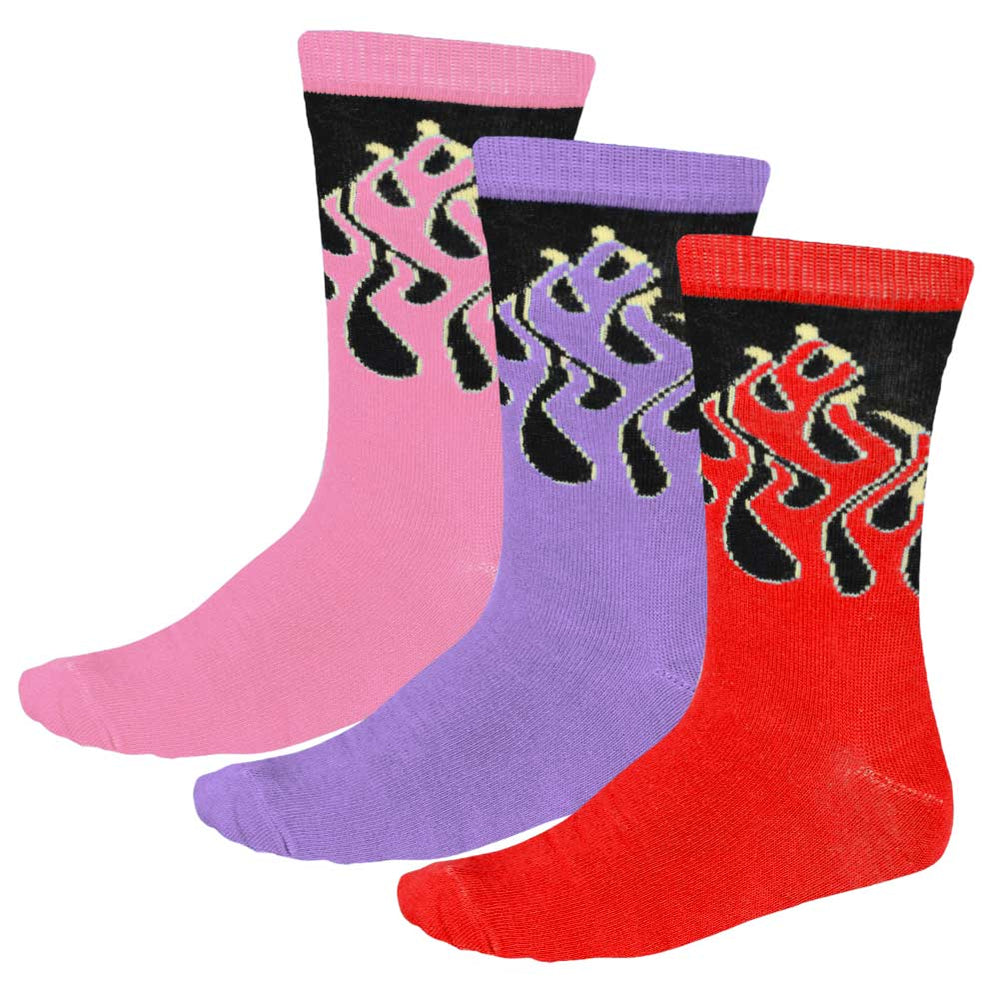 Women's flame pattern socks in red, purple and pink
