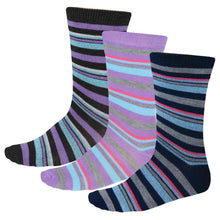 Load image into Gallery viewer, 3-pack of women's multicolor striped socks