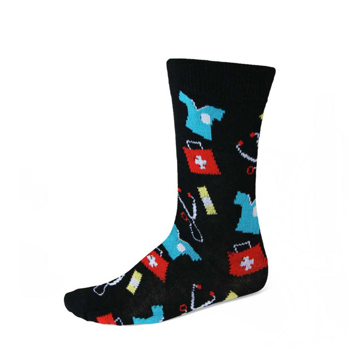 Women's medical theme socks on black background